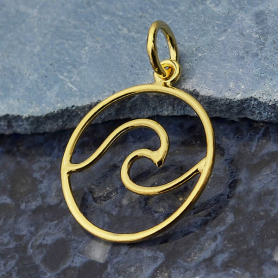 Gold Charm - Openwork Wave with 14K Shiny Gold Plate 21x15mm