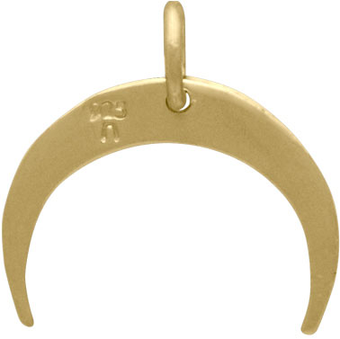 14K Shiny Gold Plated Hammered Crescent Moon Charm 16x16mm