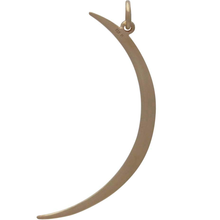 14K Shiny Gold Plated Skinny Ridged Moon Pendant 43x17mm