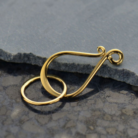 Gold Clasp- Medium Flat Hook and Eye in 14K Shiny Gold Plate