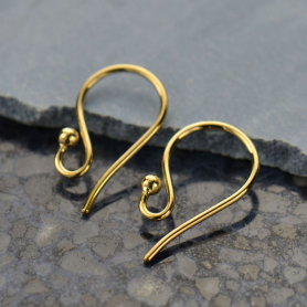 Gold Ear Hook - Simple with Ball in 14K Gold Plate 16x9mm