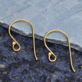 14K Shiny Gold Plated Large Simple Ear Hook w Ball 23x12mm