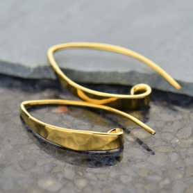 Gold Ear Wire - Lg Long Hammered With 14K Gold Plate