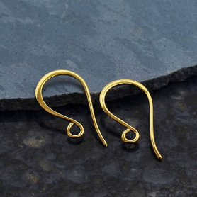 14K Shiny Gold Plated Simple Flat Ear Wire 20x10mm