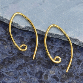 14K Shiny Gold Plated Marquis Ear Wire with Loop 23x12mm