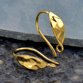 Gold Ear Wire - Sm Oval Hammered Hook 14K Shiny Gold Plate