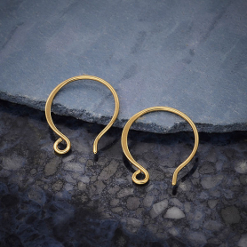 14K Shiny Gold Plated Large Circle Shaped Ear Wire 17x14mm