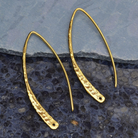 Gold Ear Wire - Large Hammered Marquis in 14K Gold Plate