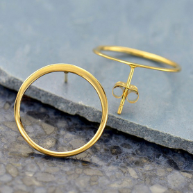Open Circle Post Earring in 14K Shiny Gold Plate