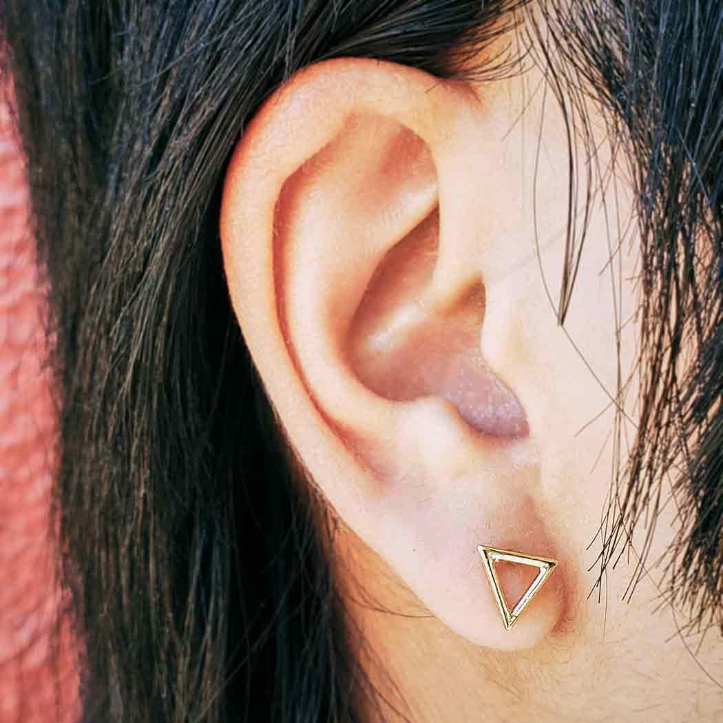 Open Triangle Post Earrings in 14K Shiny Gold Plate 7x9mm