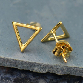 Open Triangle Post Earrings in 14K Shiny Gold Plate 7x9mm