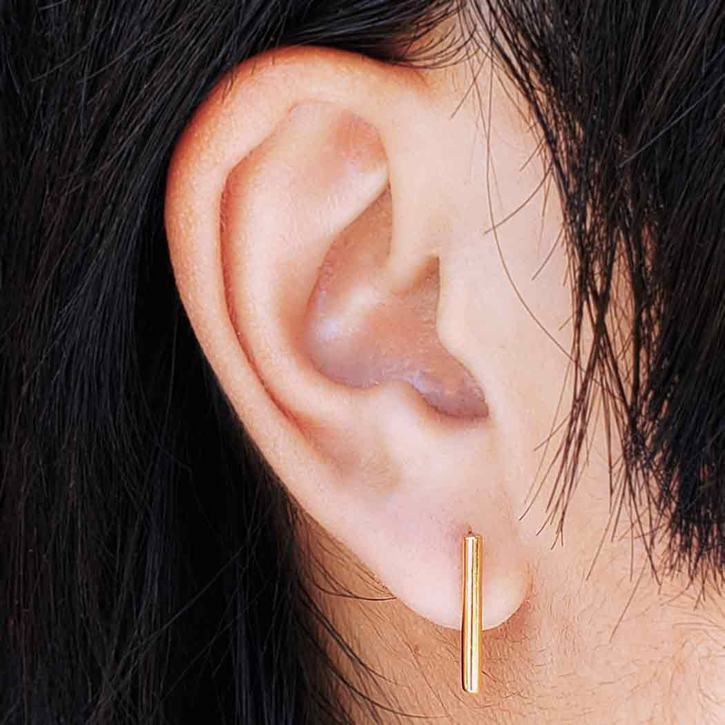 Gold Stud Earrings - Cylinder Bar with 14K Shiny Gold Plate