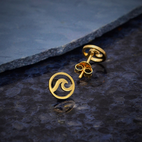 14K Shiny Gold Plated Wave Post Earrings 8x8mm