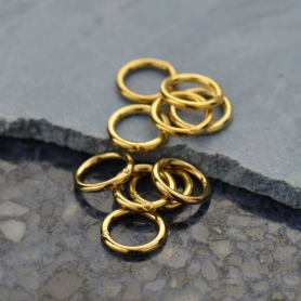Gold Jump Rings - 7mm Closed in 14K Shiny Gold Plate