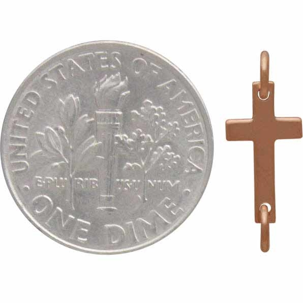 Rose Gold Charm Link - Cross with 18K Rose Gold Plate