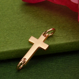 18K Rose Gold Plated Cross Charm Link 6x17mm
