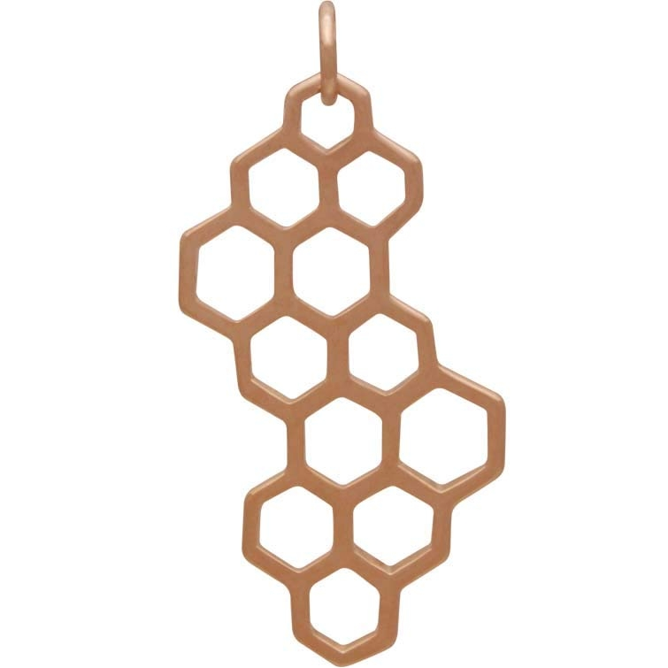 18K Rose Gold Plated Honeycomb Charm