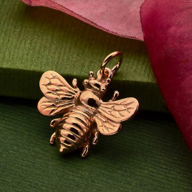 18K Rose Gold Plated Bee Pendant 20x18mm