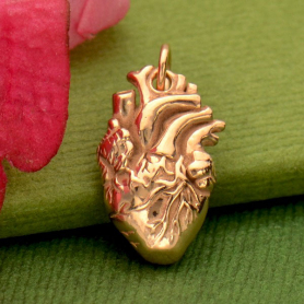 18K Rose Gold Plated Anatomical Heart Charm 21x10mm