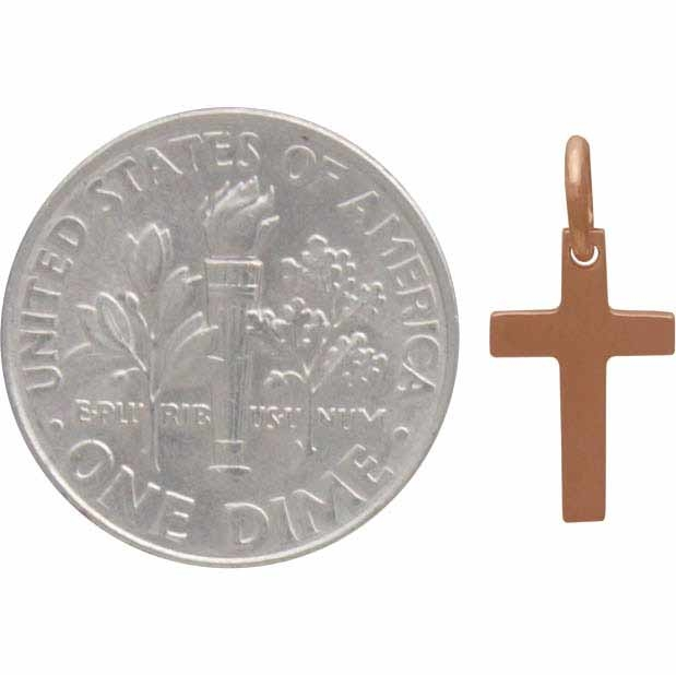 Rose Gold Charm - Cross with 18K Rose Gold Plate