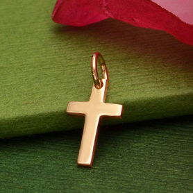 Rose Gold Charm - Cross with 18K Rose Gold Plate 15x7mm