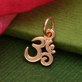 Rose Gold Charm - Tiny Om with 18K Rose Gold Plate 13x7mm