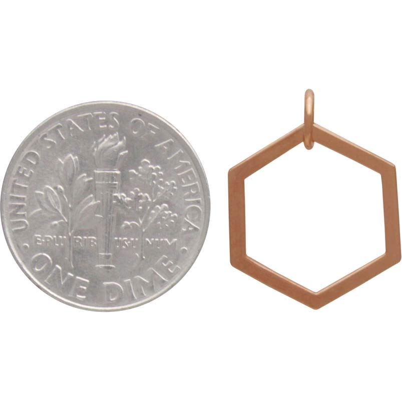18K Rose Gold Plated Single Honeycomb Charm 19x14mm