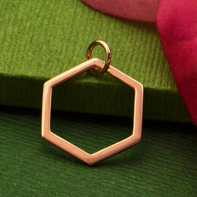 18K Rose Gold Plated Single Honeycomb Charm -18mm