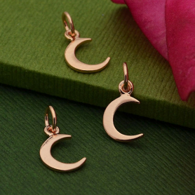 18K Rose Gold Plated Tiny Crescent Moon Charm 14x7mm