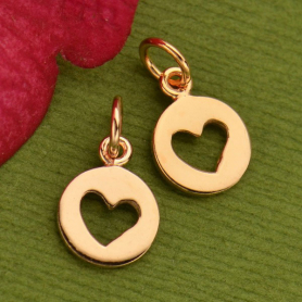18K Rose Gold Plated Disc Charm with Heart Cutout 14x8mm