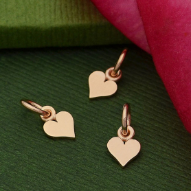 Rose Gold Charm - Tiny Heart with 18K Rose Gold Plate