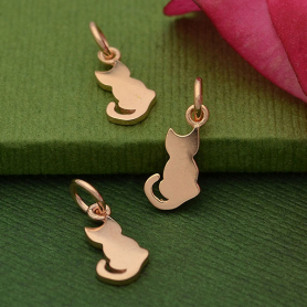 Rose Gold Charm - Tiny Cat with18K Rose Gold Plate