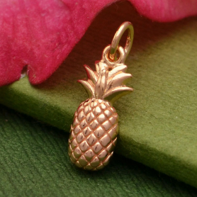 Rose Gold Charm - Pineapple with 18K Rose Gold Plate 17x5mm