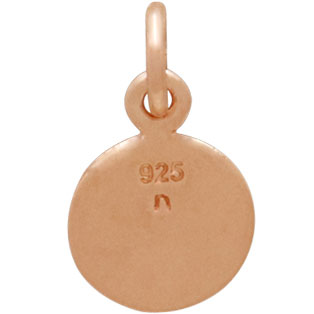 18K Rose Gold Plated Compass Charm 14x8mm