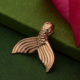 Rose Gold Pendant - Mermaid Tail in 24K Gold Plate 15x16mm