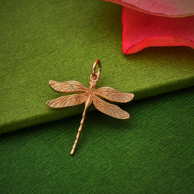 Rose Gold Plated Large Detailed Dragonfly Charm 24x20mm