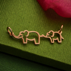 18K Rose Gold Plated Mama and Baby Elephant Festoon