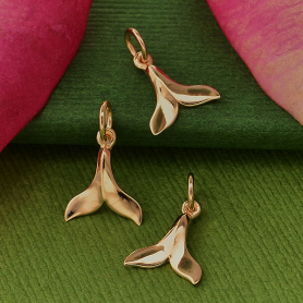 18K Rose Gold Plated Small Whale Tail Charm 15x9mm