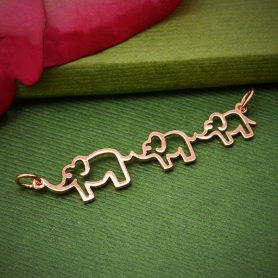 Rose Gold Plated Mama and Two Baby Elephant Festoon 12x45mm