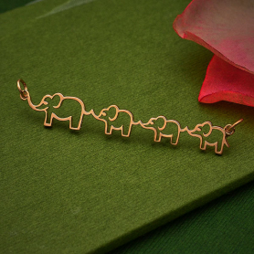 RoseGold Plated Mama and Three Baby Elephant Pendant 12x55mm