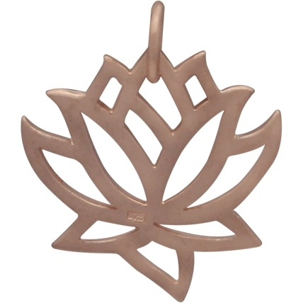 Rose Gold Charm -Medium Lotus in 18K Rose Gold Plate 18x15mm