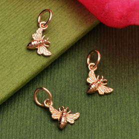 18K Rose Gold Plated Tiny Honey Bee Charm 13x7mm