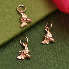 Rose Gold Charm - Tiny Bee in 18K Rose Gold Plate Left Side