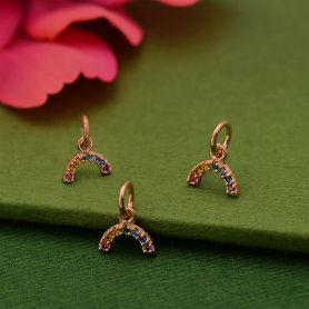 Rose Gold Plated Tiny Rainbow Charm with Nano Gems 10x8mm
