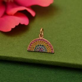 Rose Gold Plated Rainbow Charm with NanoGem Crystals 14x15mm
