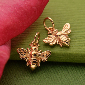 Rose Gold Charm - Honeybee with 18K Rose Gold Plate
