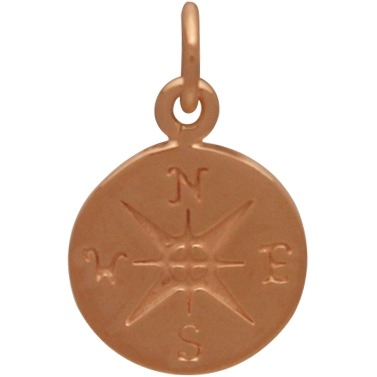 18K Rose Gold Plated Sterling Silver Compass Charm 16x10mm