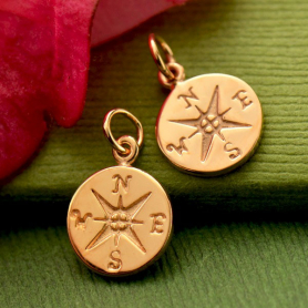 18K Rose Gold Plated Sterling Silver Compass Charm -16mm