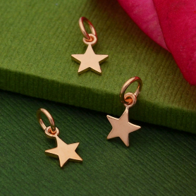 18K Rose Gold Plated Sterling Tiny Flat Star Charm 12x6mm