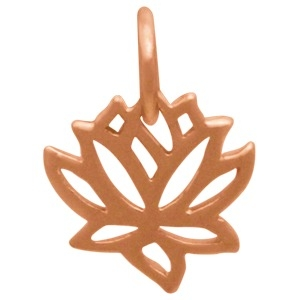 Rose Gold Charm - Tiny Lotus Flower with 18K Rose Gold Plate